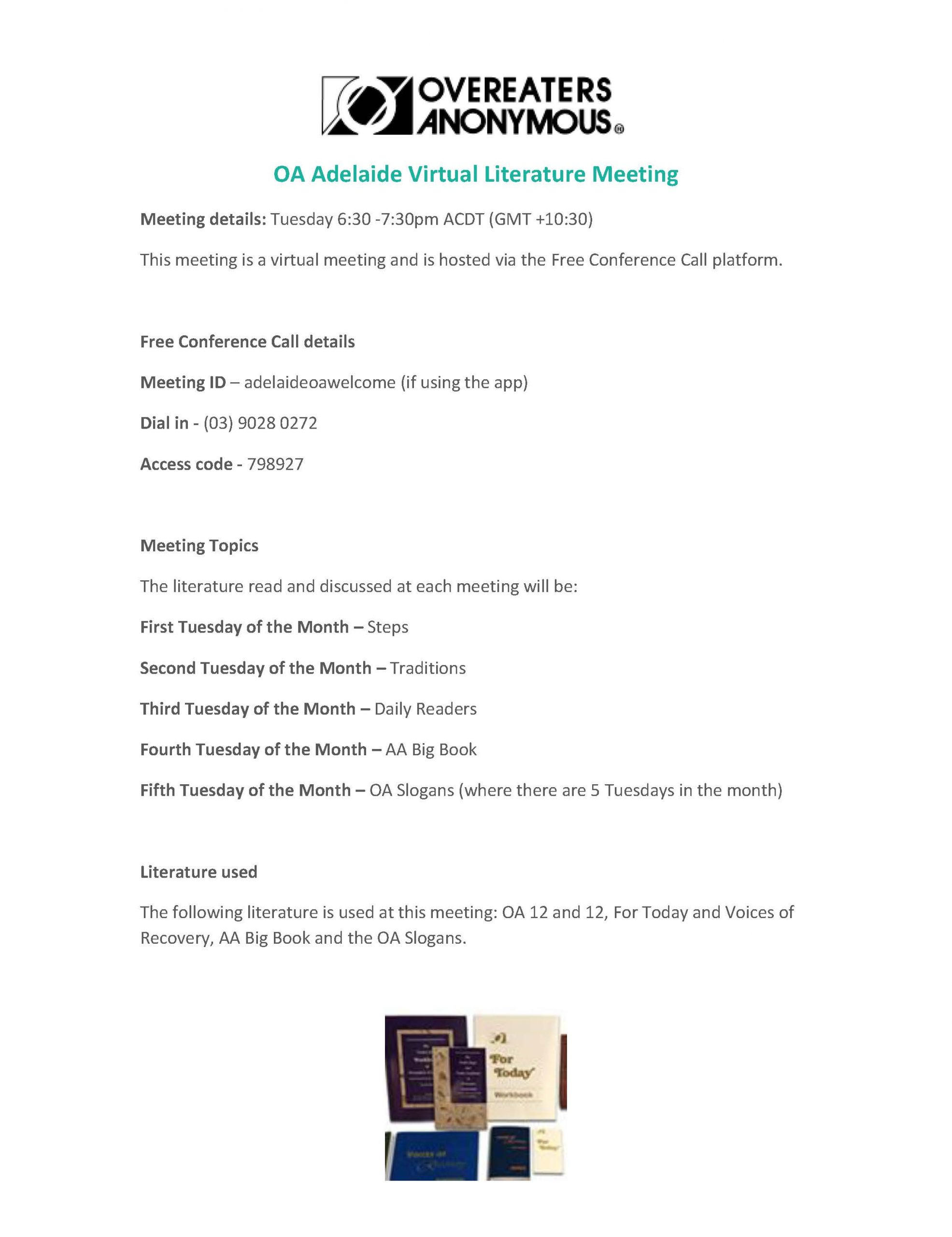 OA Adelaide Virtual Literature Meeting