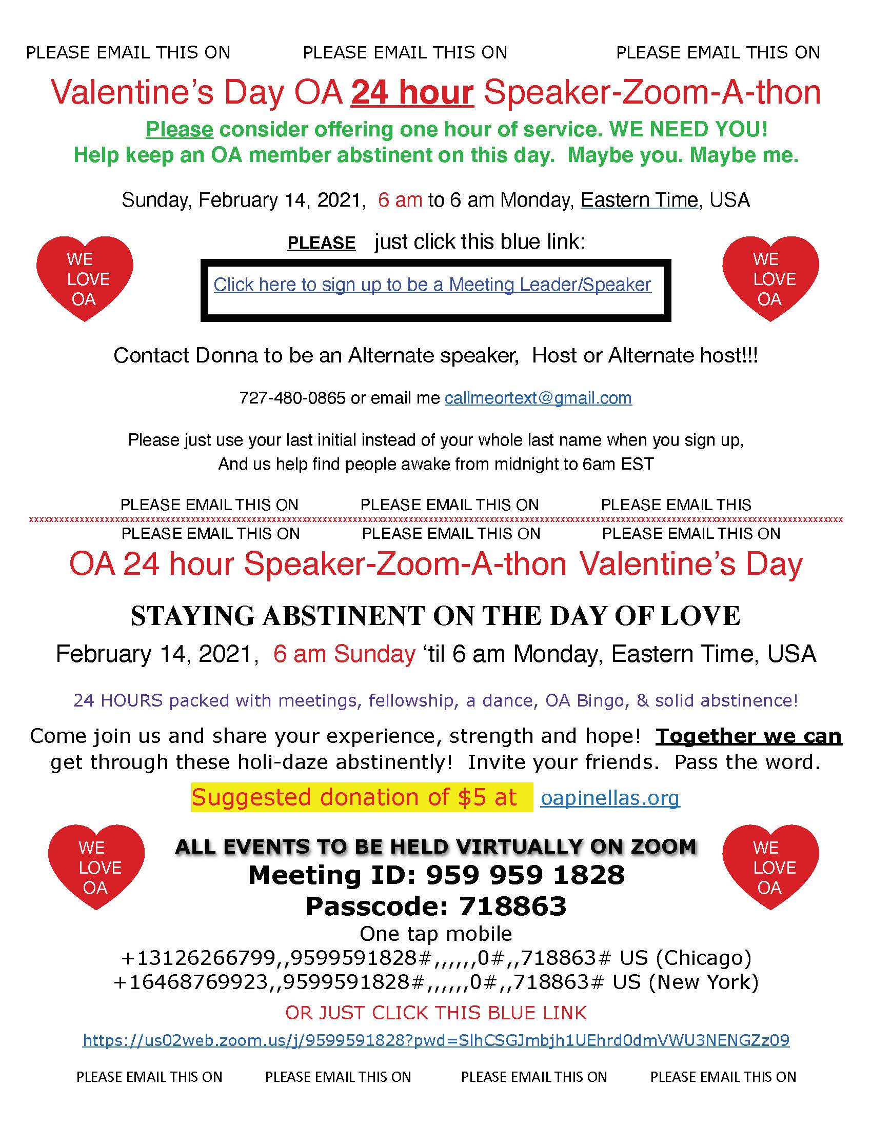OA Valentine flyer seeking speakers